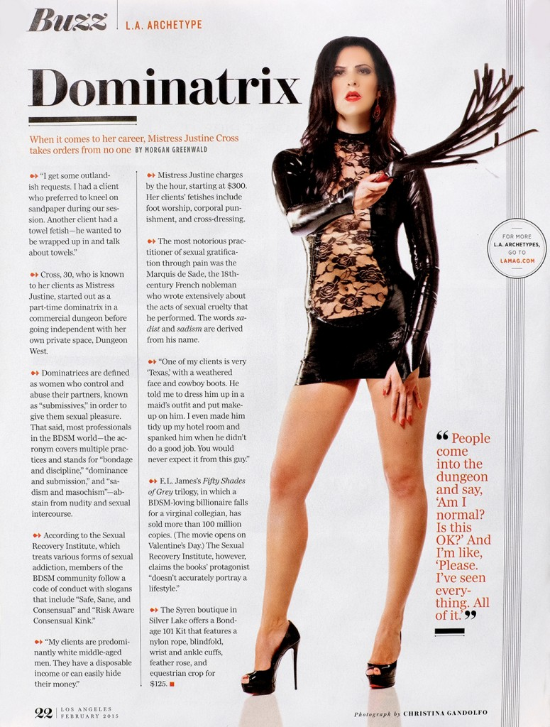 Los Angeles Dominatrix Mistress Justine Cross Featured in Los Angeles Magazine